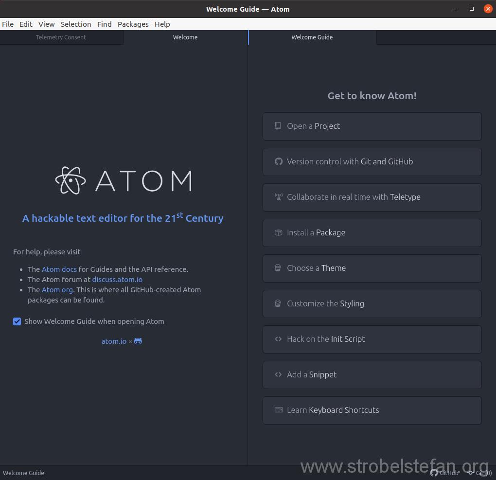 Atom startet