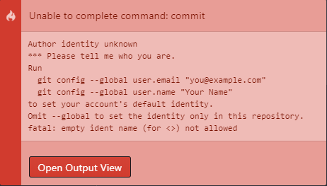 Git-Fehlermeldung: Unable to complete command: commit