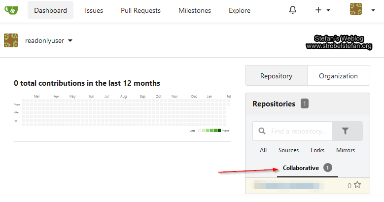 Git Repo wird dem Ready-Only-User angezeigt