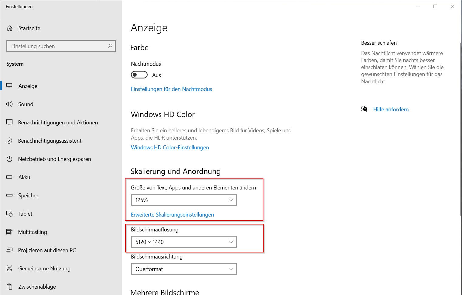 Windows - Anzeigeeinstellungen anpassen