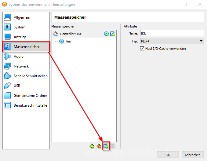 VirtualBox Manager - Neue Massenspeicherzuordnung