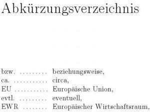 Abkürzungsverzeichnis mit nomencl