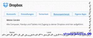 Dropbox-Einstellungen - Sicherheit