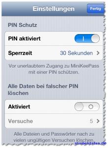 MiniKeePass für iPhone - Einstellungen