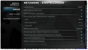 XBMC - Netzwerkeinstellungen