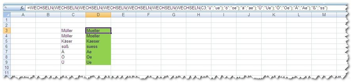 Excel - Umlaute umwandeln