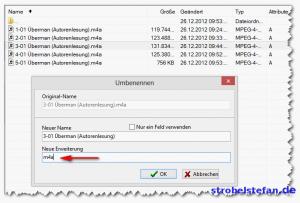 Dateiformat von m4a in m4b ändern