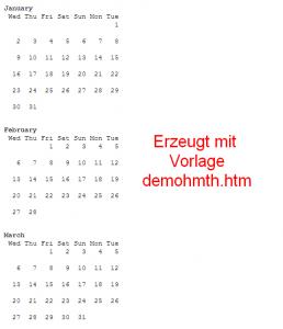 calendar - HTML