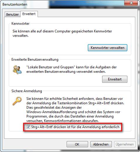 Windows 7 - Sichere Anmeldung