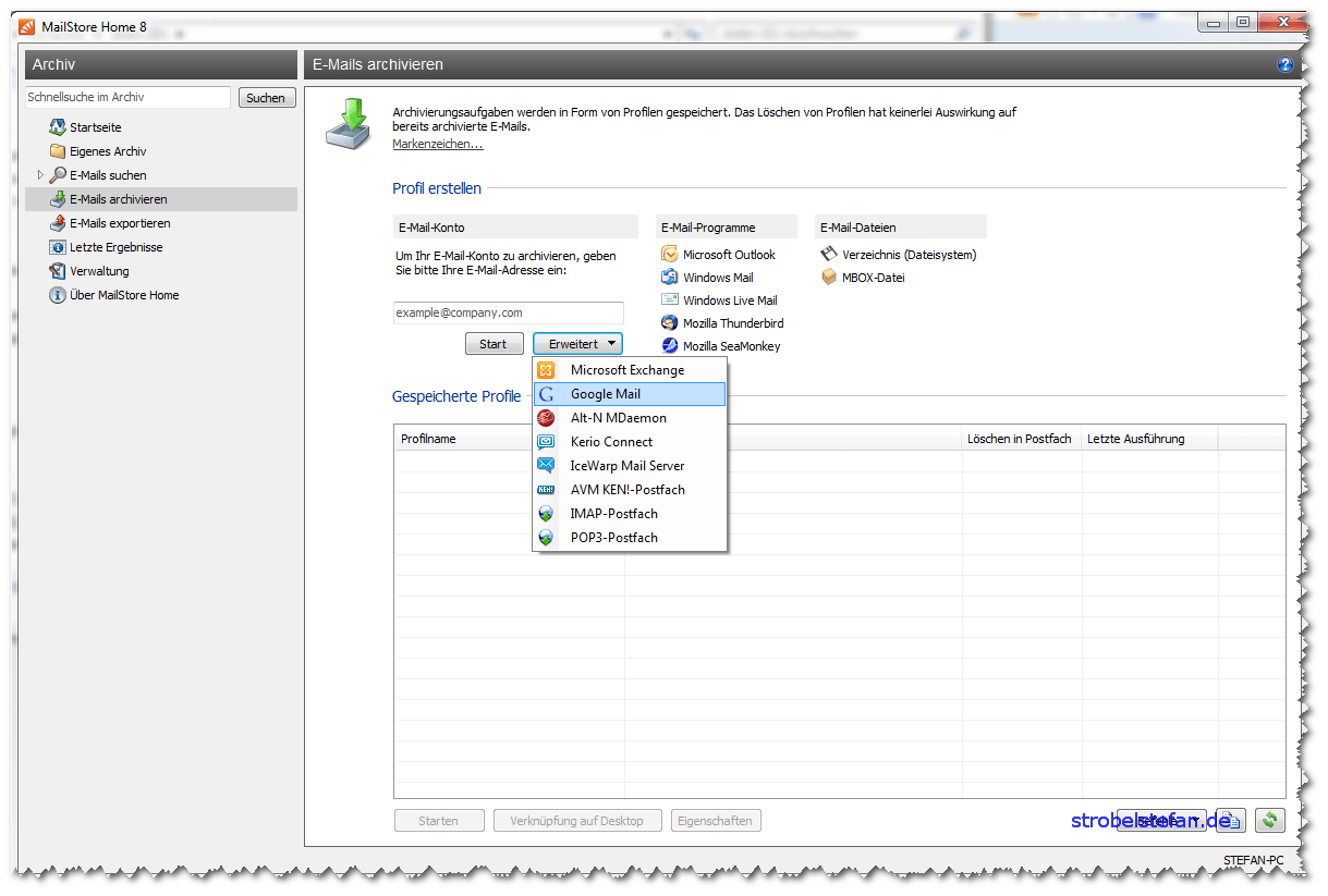 MailStore - Konfiguration