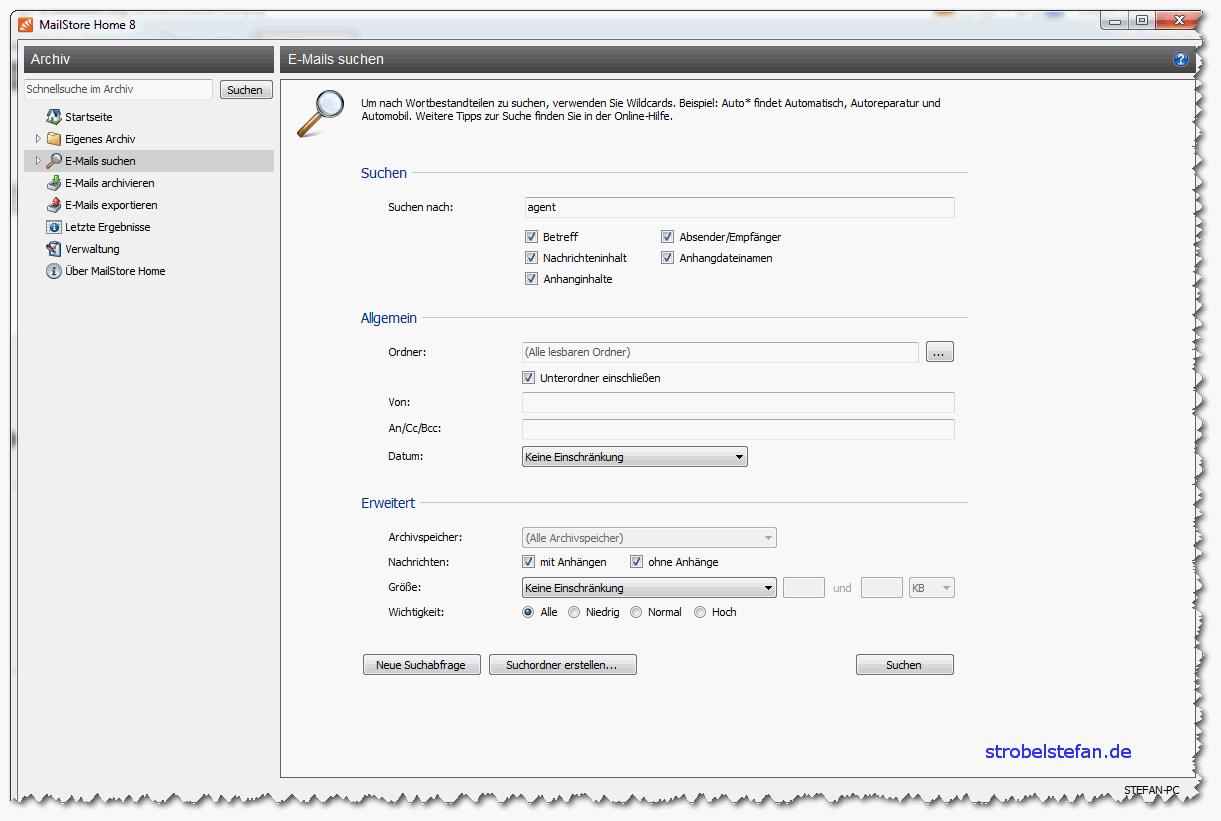 MailStore - Suchen