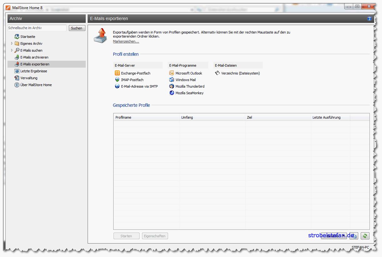 MailStore - Exportieren