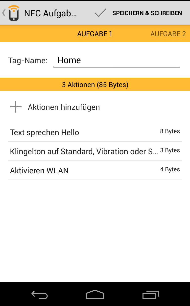 NFC- Augaben Launcher - Profil Home