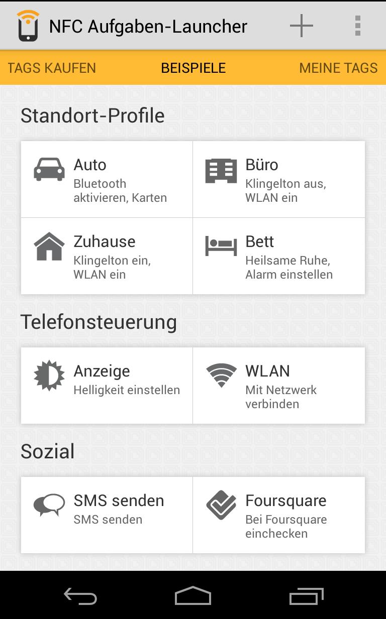 NFC- Augaben Launcher - Standardprofile