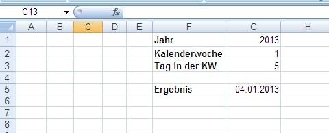 Datum aus Kalenderwoche ermitteln