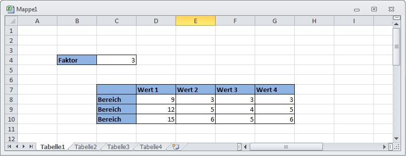 Excel - Wertebereiche in  Tabellen  multiplizieren