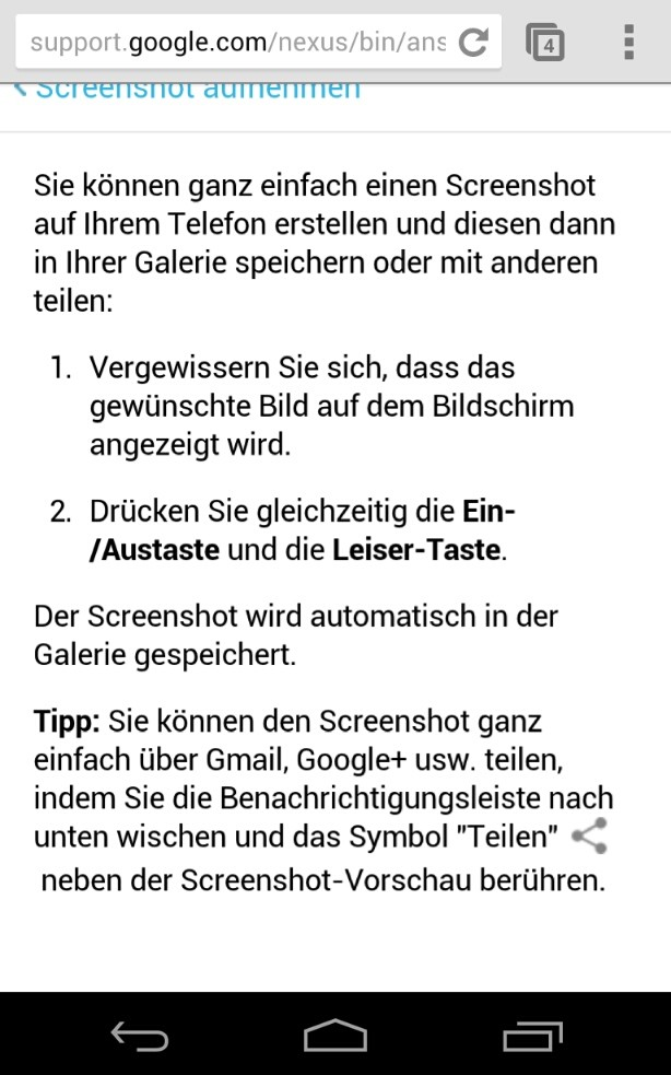 Google Nexus 4 - Screenshots erstellen