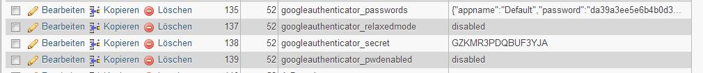 Zwei-Faktor-Authentifizierung - Datenbank