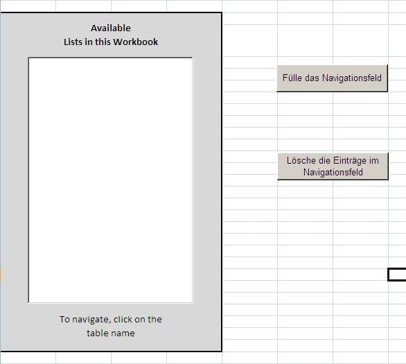 Navigation innrhalb einer Excel Arbeitsmappe