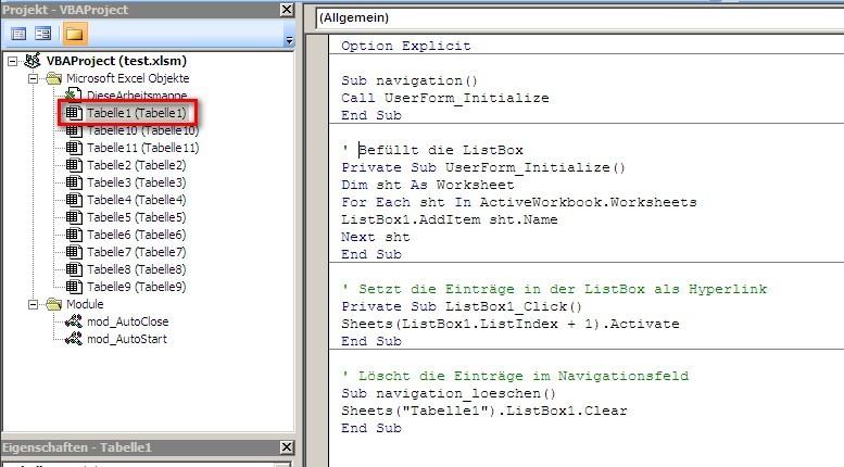 Code für Navigationsfeld