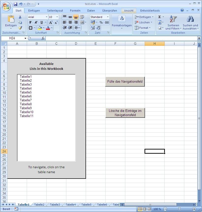 Excel Vba Userform Tabellenblatt Aktivieren : Navigation via listbox in einer excel arbeitsmappe