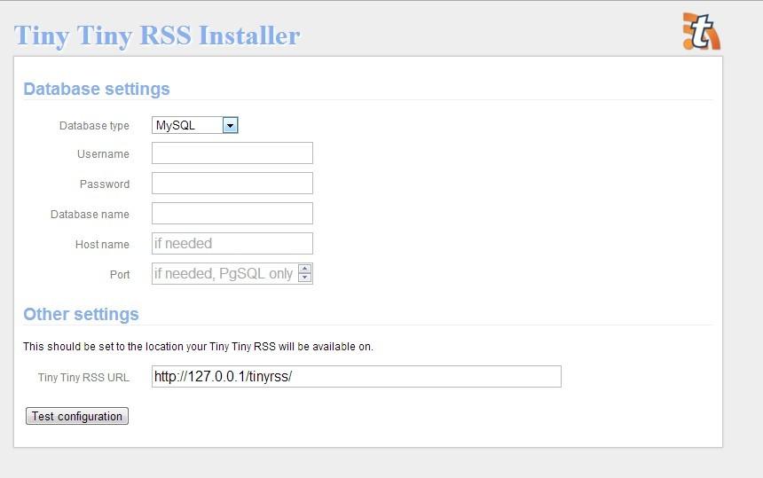 Tiny Tiny RSS - Installation