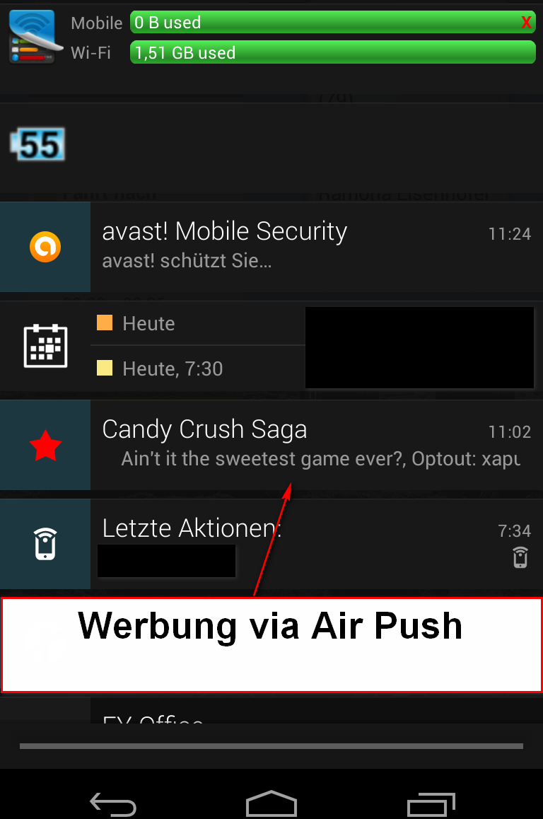 Werbung via Air Push