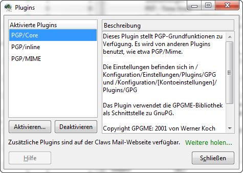 Claws Mail - PGP-Funktion aktivieren