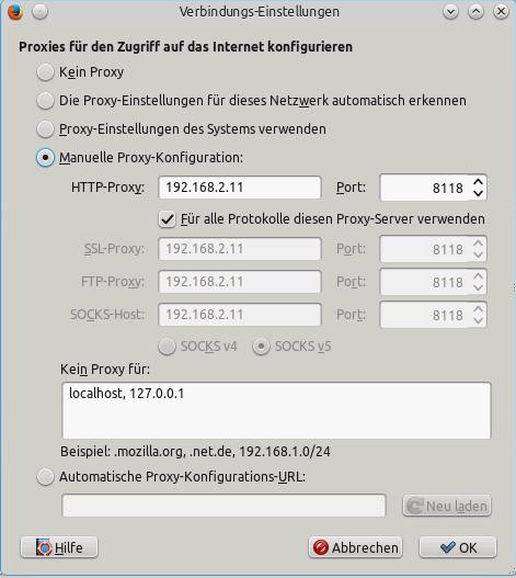 Firefox - Proxy-Konfiguration