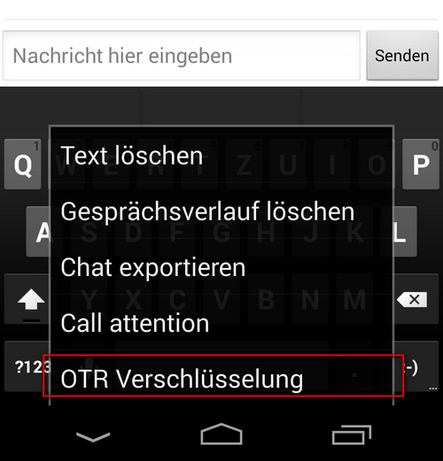 Xabber - OTR aktivieren