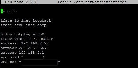 Raspberry Pi - WLAN statische IP