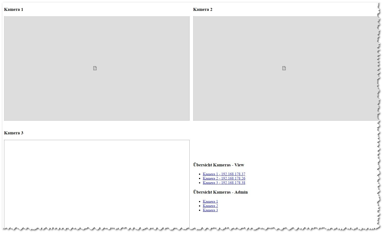 HTML - Kamerübersicht für Motion