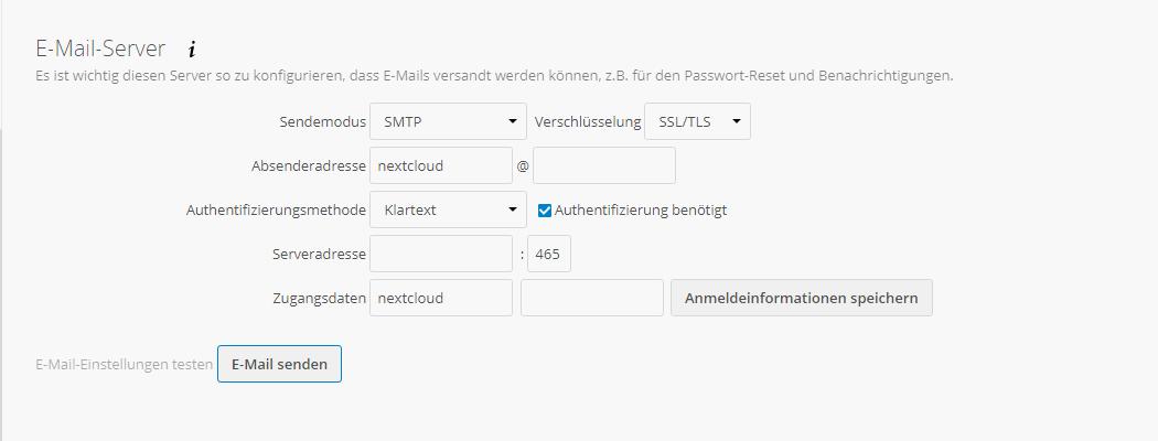 Nextcloud - E-Mail-Versand