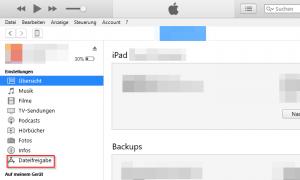iTunes - Dateifreigabe