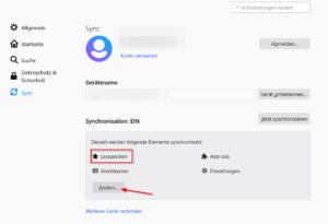 Firefox Accounts - Lesezeichen synchronisieren