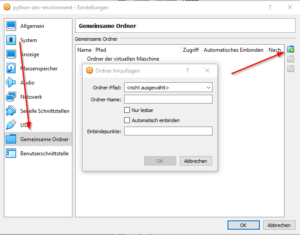 VirtualBox Manager - Gemeinsamer Ordner