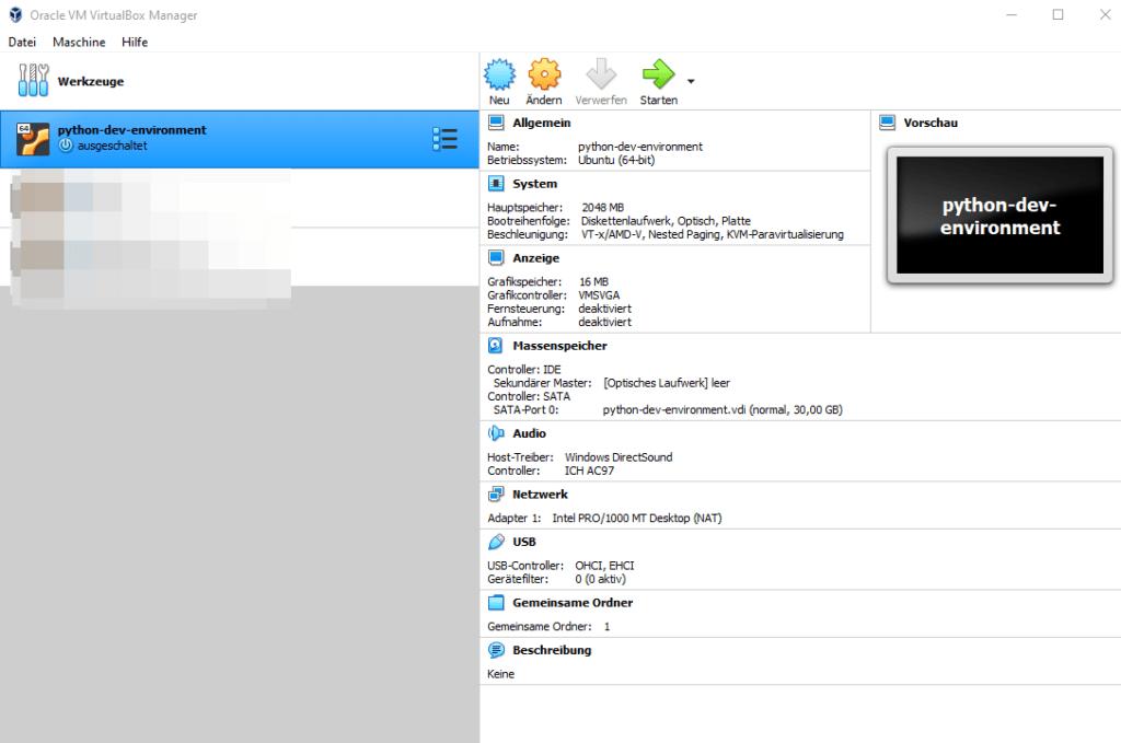 VirtualBox Manager