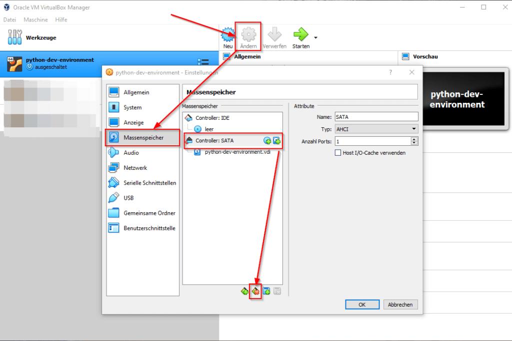 VirtualBox Manager - Massenspeicher entfernen