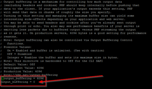 php.ini - output_buffering