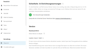 Nextcloud 20.0.2 - Alle Überprüfungen bestanden.