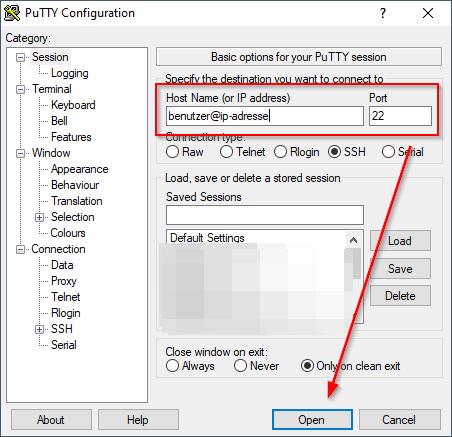 PuTTY - SSH-Anmeldung am Synology NAS