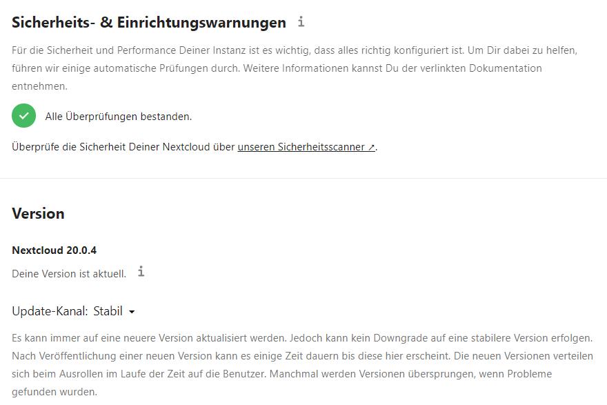Nextcloud Update auf Version 20.0.4