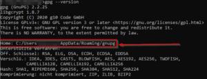 Windows GPG-Version abfragen