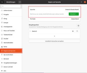 Ubuntu - Sprache umstellen