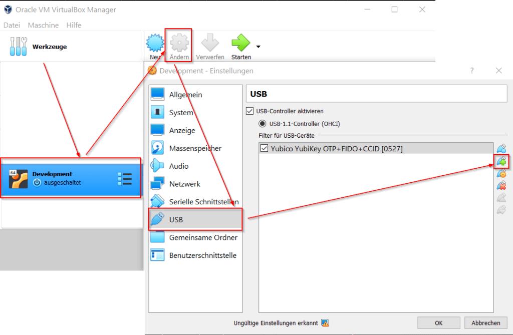 VirtualBox Manager - USB