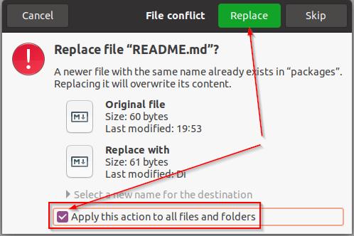 Dateien überschreiben / ersetzen