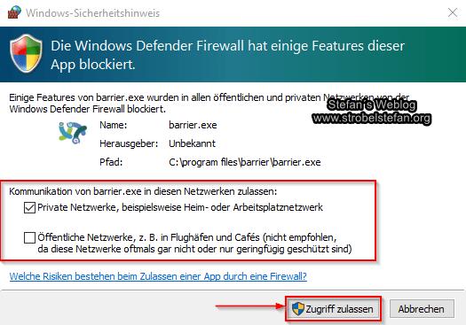 Windows Firewall anpassen