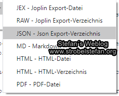 Joplin - Export in anderes Datei-Format