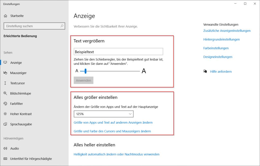 Windows - Anzeigeeinstellungen für erleichterte Bedienung