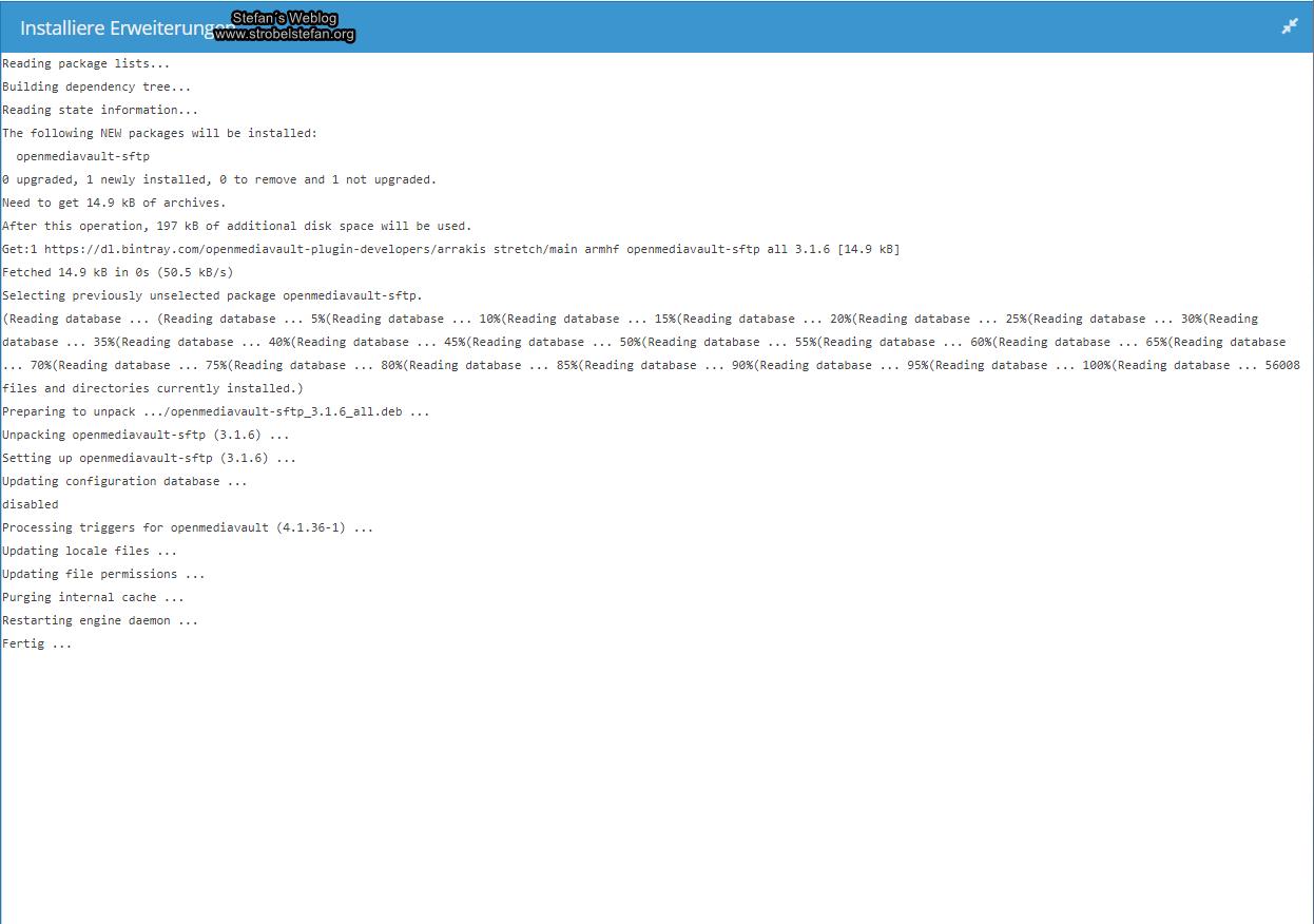 openmediavault - SFTP-Paket nachinstallieren